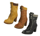 LADIES SPOT ON MID CALF ROUND TOE LACE UP CASUAL WINTER HIGH HEEL BOOTS F50323