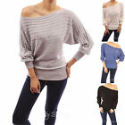 Cotton Blend Boat Neck Semi-fitted Ribbed Casual Pullover Jumper