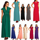 Full Long Chiffon Evening Formal Dress w/ Cap Sleeves Plunge Neckline UK 6 to 26