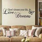 Motto Live Your Dream Butterfly Creative Decal Wall Sticker Room Decor Art