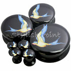 Multiple Sizes Blue Yellow Sparrow Swallow Acrylic Flesh Tunnels Black Ear Plugs