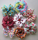"Girl PRINT hairbow Pinwheel~ size 4""~on lined alligator clip~ you pick the color"