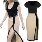 UK Fashion Womens Black & Beige Formal Party Pencil Contrast Split Side Dress