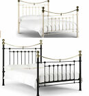 "VICTORIA 4'6"" DOUBLE METAL BED FRAME IN STONE WHITE & BRASS OR SATIN BLACK"