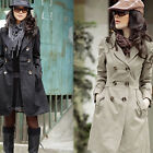 Vogue Stylish Womens Sleeve Slim Trench Double Breasted Coat Jacket Outwear