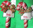 Ornament, Personal Name - ANDY 1&2 AUSTIN - 3D Candy Cane Bow Christmas Town Joy