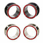 Value Pack 2 PAIRS Red Crystals Gems Black Silver Steel Flesh Tunnels Ear Plugs