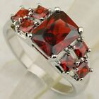 Size 6 7 8 9 wonderful nice fire red cz 7*9mm gems gold filled ring K1733-20