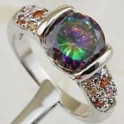 Size 5.5 6.5 7.5 8.5 Hot Nice Rainbow Topaz Gold Filled Woman Tension Ring K2173