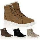 Ladies New Faux Leather Womens Ankle Hi Top Pumps Trainers Boots Size 4-9