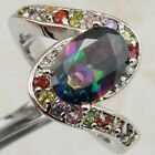 Size 5.5 6.5 7.5 9 Nice Rainbow Topaz 7*10mm Gems Gold Filled Woman Ring K2165
