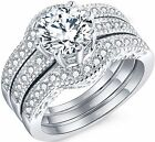 3 Pcs 925 Sterling Silver Wedding Engagement Rings Band Set Size 5 6 7 8 9 10