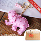 US Korean Elephant Leather Tassel Key Ring Bag holder Charm Keychain Cute Kawaii
