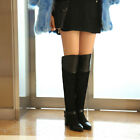 Womens Block Mid Heel Bukle Strappy Knee High Boots Pointy Toe Stitching Shoes