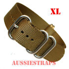 EXTRA LONG Premium ZULU® 5 Ring OLIVE BROWN Watch Strap Band NYLON Divers XL SS