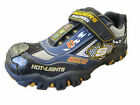 BOYS HOT LIGHTS SKECHER TRAINERS BLACK AND NAVY 'RACE CAR'