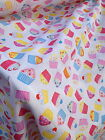 PolyCotton Fabric Material with Pink and Blue Cupcakes Cut off the Roll