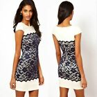 Women Elegant Lace Short Sleeve Bodycon Party Cocktail Evening Slim Pencil Dress