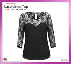 Women 3/4 Sleeve Stretch Floral Lace T-Shirt Top Plus Sizes 10-20 Formal Casual