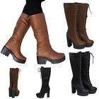 LADIES WOMENS MID CALF  LACE UP PLATFORM BOOTS LONG ZIP SHOES SIZE UK SIZE 3-8