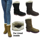 Ladies Grip Sole  Quilted Faux Fur Lined Womens Mid Calf Boots Winter Snow Shoe