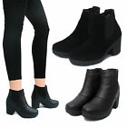 WOMENS LADIES MID HEEL CHELSEA SHOES CHUNKY BLACK FAUX LEATHER BIKER ANKLE BOOTS