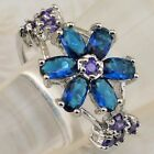 Size6 7 8 9 Hot London Blue Sapphire Topaz Flower Jewelry Gold Filled Ring K1861