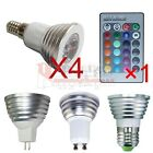 4x GU10 E27 E14 MR16 16 Color Changing RGB LED Light Bulb Lamp+IR Remote Control
