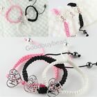 Pink Crystal Heart Connector Ribbon Breast Awareness Cord Adjustable Bracelet