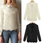 Chic Women Long Sleeve Lace Floral Crochet Chiffon Collar Blouse Top Black White