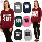 Womans Ladies Oversized Workout Print Long Sleeves Gym Jumpers Sweatshirts Tops