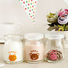 3 x Cute Dessert Cruets Pudding Yogurt Milk Jelly Glass Cup Bottle Set