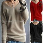 Fashion Wool Blend Sweater V neck Pullover Knitwear Autumn Winter Jumpers