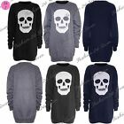Womens Ladies Skull Head Long Sleeve Baggy Fleece Knitted Dress Top Plus Size