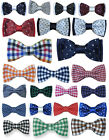 UK BOYS QUALITY ADJUSTABLE STRAP POLKA DOT & CHECKERED BOW TIES