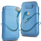 Blue PU Leather Pull Tab  Flip Case Cover & Earbud Earphone for Mobile Phones