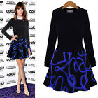 Women's Knitted Striped Show Slim Dress Splicing Color Party Skirt Evening Dress