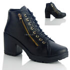 NEW WOMENS LADIES MID BLOCK HEEL SIDE ZIP LACE UP DESIGNER ANKLE BOOTS 4 5 6 7 8