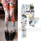 Fashion Sexy Women Girls Graffiti colorful Soft Stretchy Leggings Tights Pants