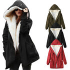 UK Womens Winter Jacket Outwear Fur Parka Coat Fleece Trench Cardigan Hoodies
