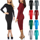 Women's Long Sleeve Stretch Bodycon Plain Jersey Midi Maxi Pencil Dress Skirt
