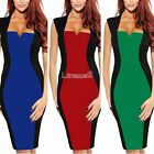 Women  Optical Illusion Colorblock Fitted Bodycon Cocktail Party Pencil Dress LM