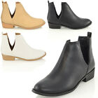 LADIES FLAT LOW HEEL CUT OUT CHELSEA RIDING BIKER WOMENS ANKLE BOOTS SHOES SIZE