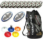 Gilbert Rugby Coaching Pack 10 Zenon 2 Omega Balls 50 markers 1 bag sizes 3,4,5