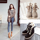 Womens Lace Up Flat Faux Fur Line Warm Winter Snow Ankle Boots Shoes FREE Hot