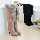 Warm Womens Faux Suede Strappy Fur Trim High Heel Lace Up Winter Knee High Boots