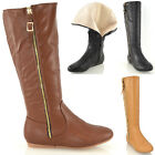 WOMENS KNEE HIGH WINTER FUR LINED LEATHER LOOK CALF FLAT RIDING LADIES BOOTS 3-8