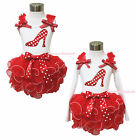 XMAS Minnie Dot Heels White Top Hot Red Petal Pettiskirt Baby Girl Outfit NB-8Y