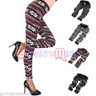 Womens Lady Thick Knitted Winter Warm Stripe Snowflake Reindeer Pants Legging