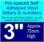 """QTY of: 11 x 3""""  75mm HIGH STICK-ON  SELF ADHESIVE VINYL LETTERS & NUMBERS"""